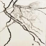 Par monts et par vaux - Encre, Fusain, Papier soie , 57 x 57 - 2021