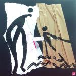 A fleur de peau-Collage-Pliage-Encre-53 x 53 - sur papier