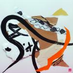 La musique des formes -Collage, Pliage, Encre sur papier 40 x 40