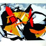 Ouvrir des brèches poétiques-Collage-Pliage-Encre-40 x 50 sur carte bulle