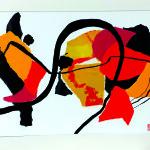 Dans un long voyage migratoire-Collage- Pliage- Encre sur carton plume- 40 x 50 - CONFINEMENT 2