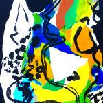 Triangle d' or ,Collage, pliage, encresur papier 50 x 70 - 2021